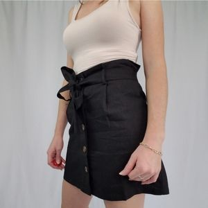 Black button front ramie cotton blend mini skirt